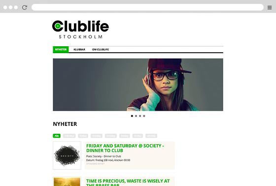 Clublife webbapp i Snowfire