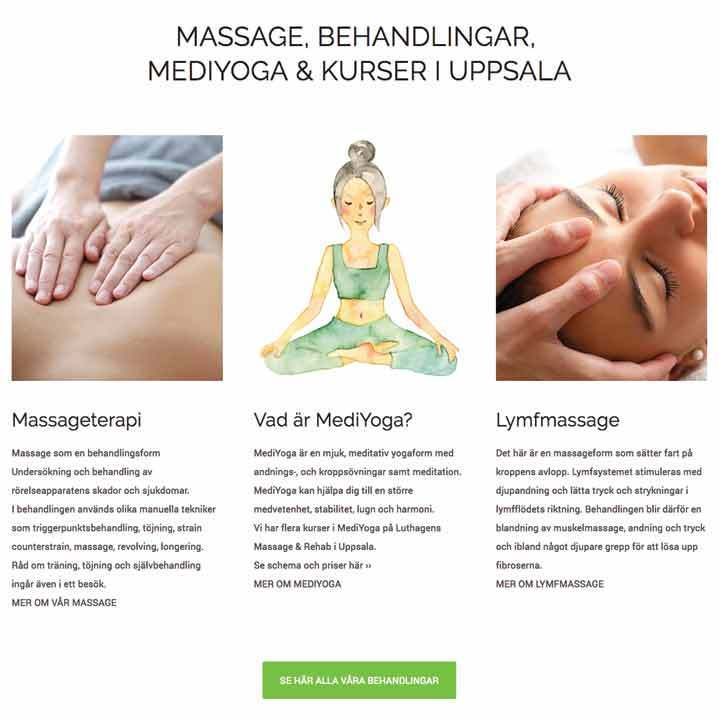 Web Design – Web Site – Massage & Rehab in Uppsala